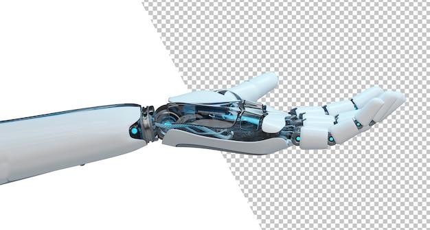 Chiuda in su sulla mano aperta tagliata del robot isolata