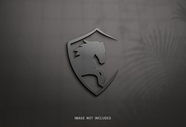 Primo piano sul mockup del logo scuro