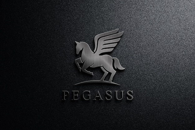 Chiudere il mockup del logo in metallo scuro