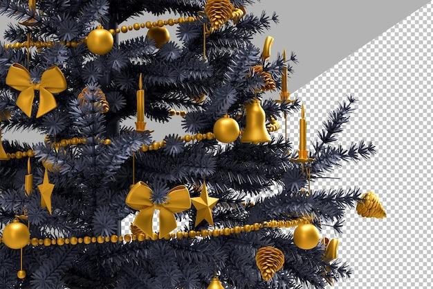 Primo piano di albero di natale decorato