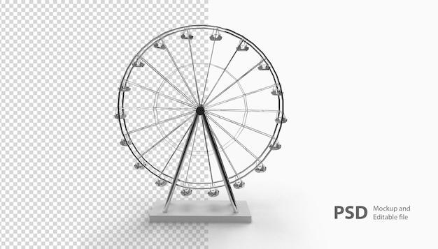 Primo piano sulla ruota panoramica isolata nel rendering 3d