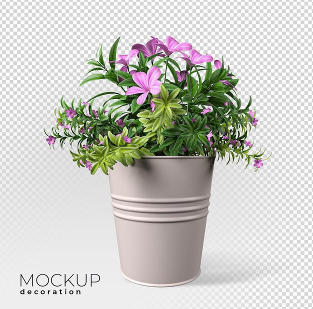 Chiuda in su sul fiore in vaso interno 3d mockup