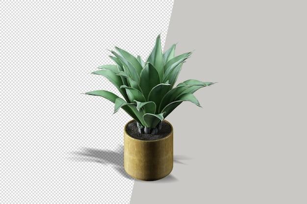 Primo piano sul rendering 3d di interni di fiori in vaso