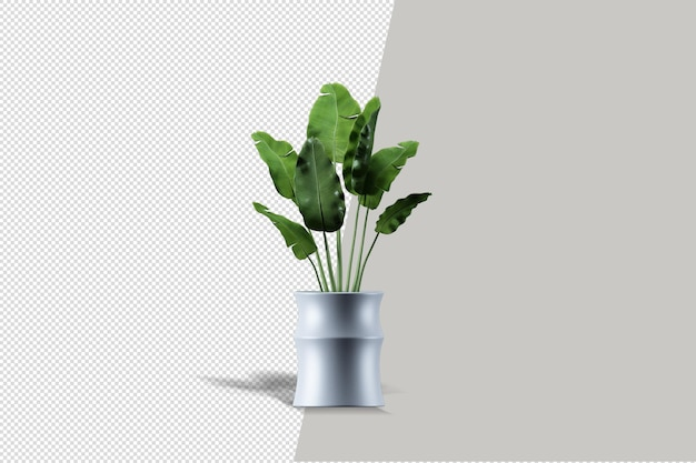 Primo piano sul fiore nel rendering 3d interno del vaso