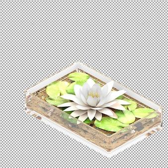 Primo piano su un fiore in un vaso in rendering 3d