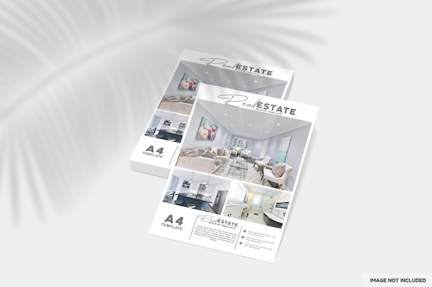 Primo piano su flyer o brochure per mockup immobiliare
