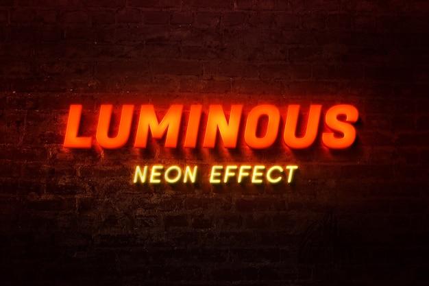 Primo piano sul modello di effetto di testo al neon lettere incandescente
