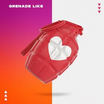 Primo piano sulla granata come nel rendering 3d