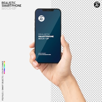 Mockup di smartphone della holding della mano del primo piano