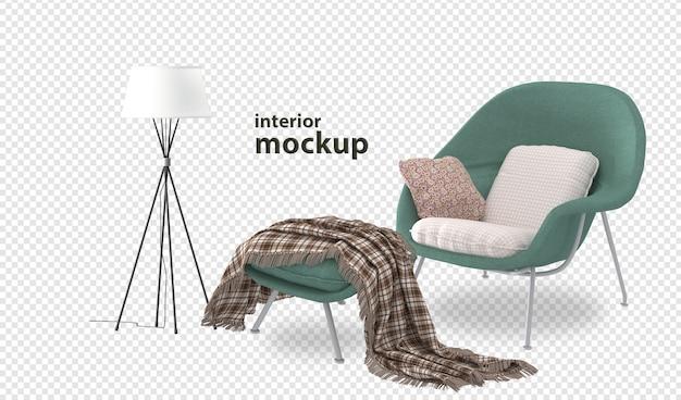 Chiuda in su rendering 3d mockup interni