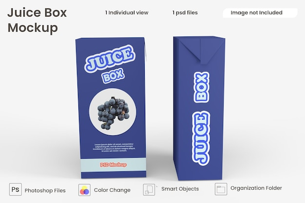 Chiuda in su mockup di scatola di succo isolato