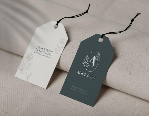 Primo piano sul mockup di etichetta tag