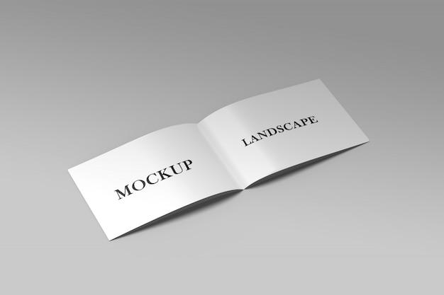 Primo piano sul mockup dell'opuscolo del paesaggio