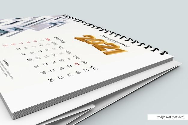Close up paesaggio scrivania calendario mockup isolato