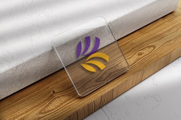 Primo piano sul logo sul mockup della carta di vetro
