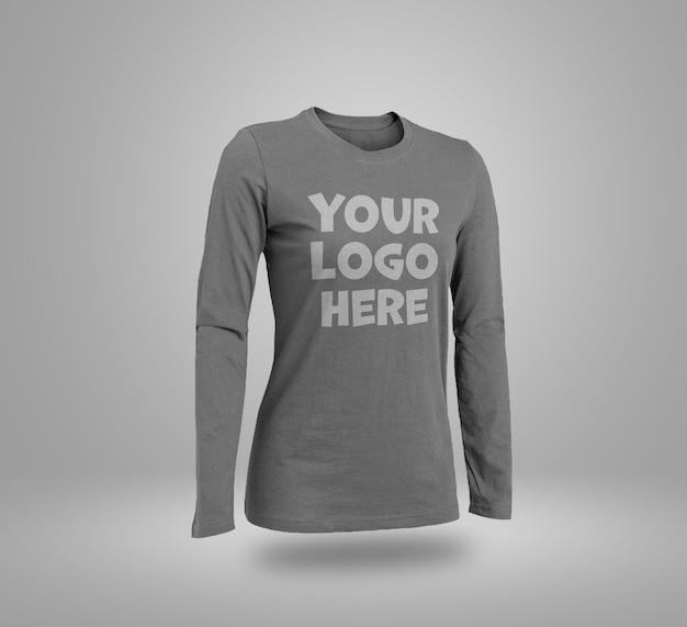 Primo piano sul mockup di t-shirt a maniche lunghe isolato