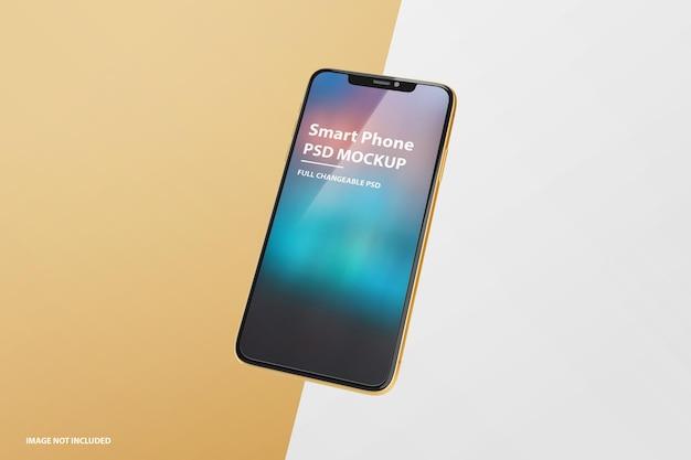 Primo piano sul design mockup dello schermo del telefono di lusso