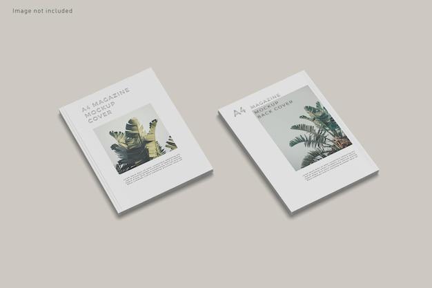 Primo piano sulla copertina di una rivista mockup isolato