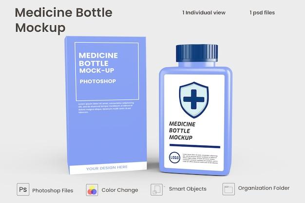 Primo piano sul design del mockup del vaso di medicina