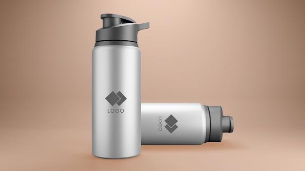 Primo piano sul mockup di bottiglie corporative in metallo