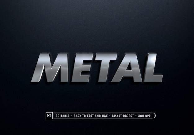 Primo piano sul modello di effetto di stile di testo in metallo
