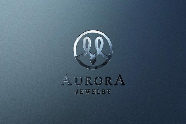 Close up mockup logo metallico con effetto inciso