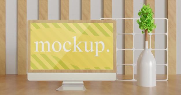Primo piano sul mockup del monitor dello schermo minimalista