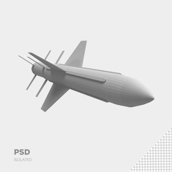Primo piano sul razzo missilistico isolato