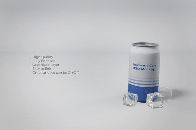 Primo piano sulla moderna lattina di alluminio con ghiaccio