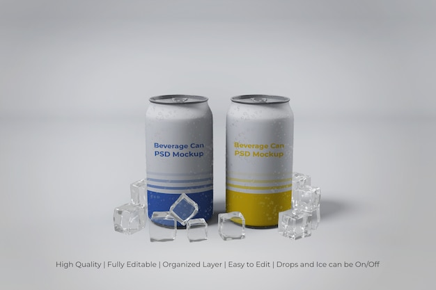 Primo piano sulle moderne lattine di soda in alluminio con ghiaccio