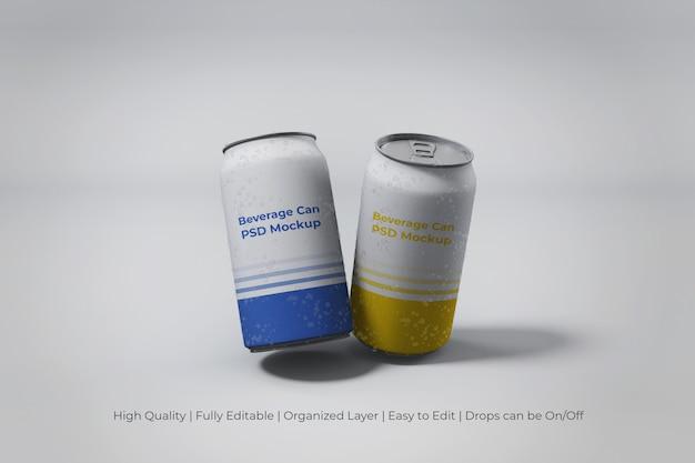 Primo piano sulle moderne lattine di soda in alluminio