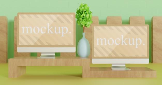 Primo piano sul monitor mockup sul mini tavolo in legno, vista frontale