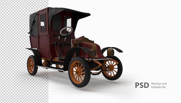 Primo piano sulla vecchia auto in rendering 3d isolato
