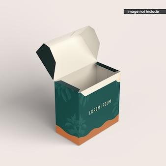 Primo piano su mockup scatola pacchetto isolato