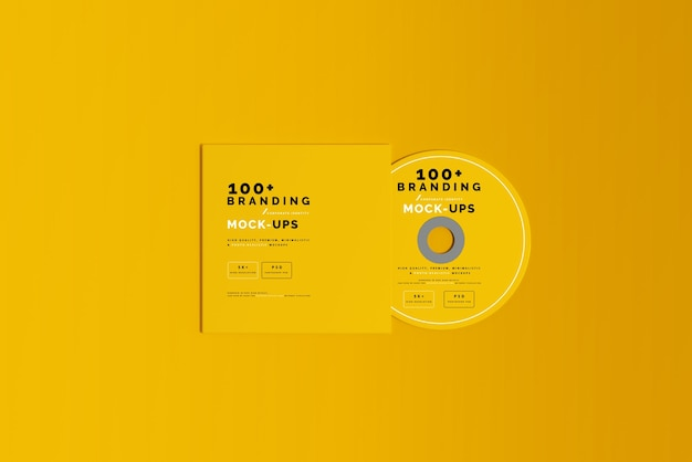 Primo piano sulla confezione del disco cd e del manicotto mockup