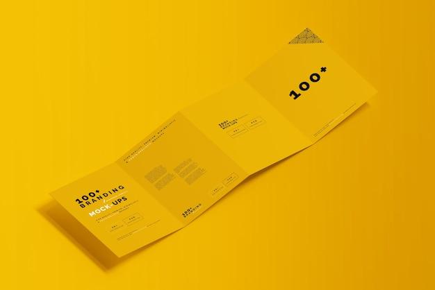 Primo piano sulla confezione di quattro pieghe brochure mockup