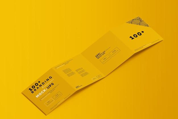 Primo piano sulla confezione del modello di brochure quadrata a quattro pieghe