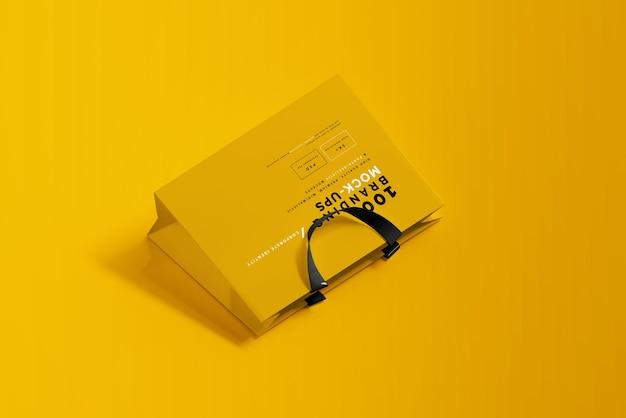 Primo piano sulla confezione del mockup del sacchetto della spesa