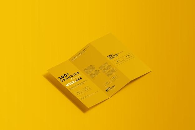 Primo piano sulla confezione di tre pieghe dl brochure mockup