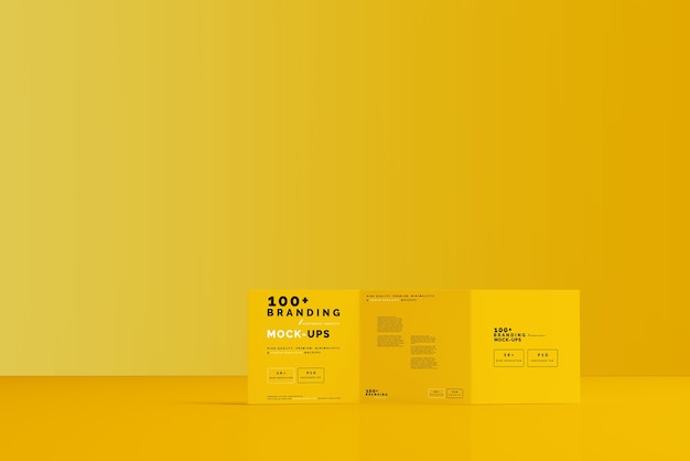 Primo piano sulla confezione di tri fold square brochure mockup
