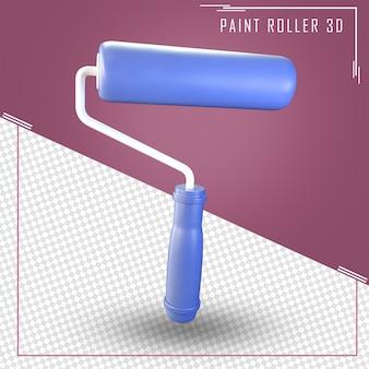 Primo piano sul rendering 3d rullo di vernice isolato