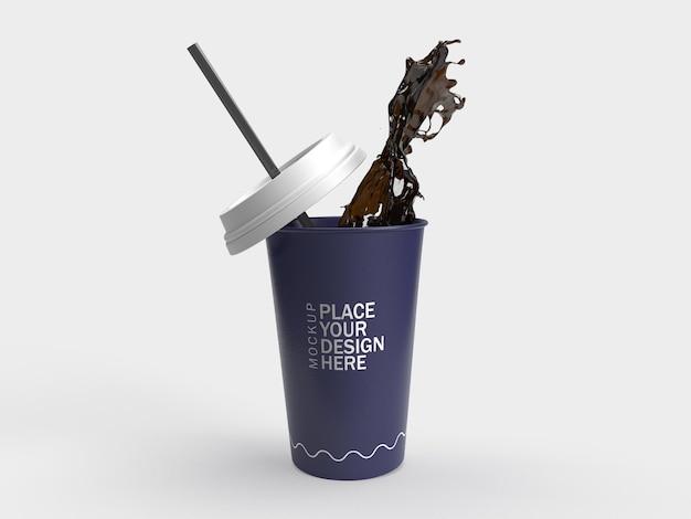 Chiuda sulla rappresentazione 3d della spruzzata della tazza di caffè di carta isolata