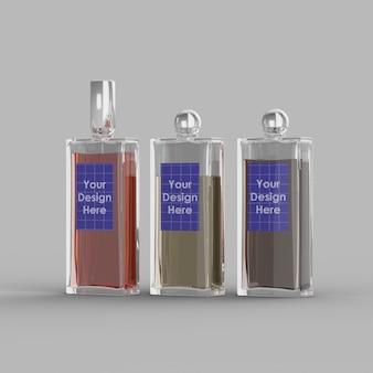 Primo piano su bottiglie di profumo mockup isolato