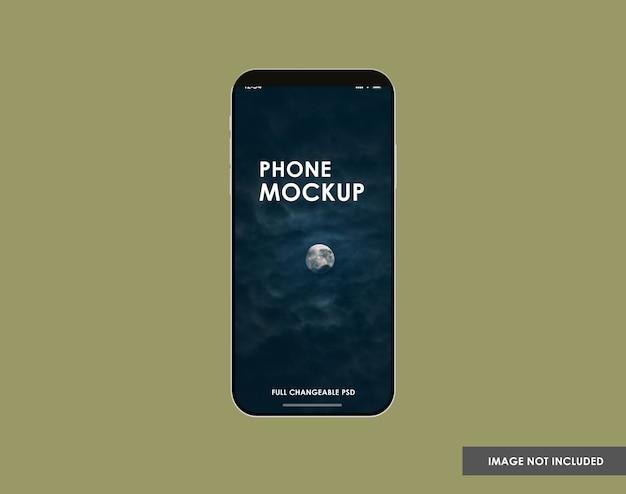 Primo piano sul mockup dello schermo del telefono isolato