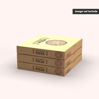 Primo piano su pizza box mockup isolato