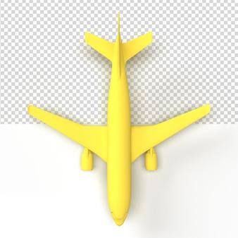 Primo piano su un aereo in rendering 3d isolato