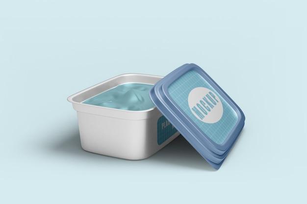 Primo piano sul mockup di contenitore per alimenti in plastica