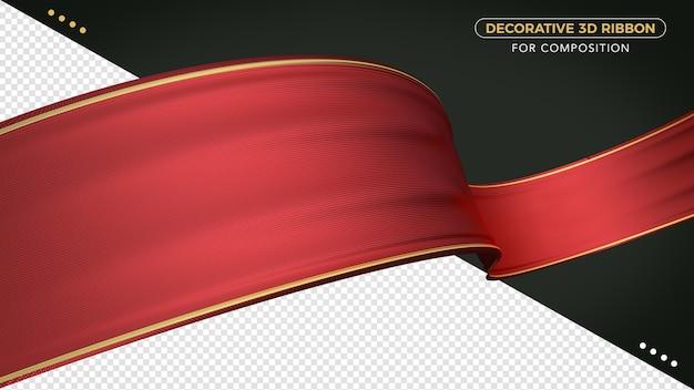 Primo piano sul nastro rosso 3d realistico isolato