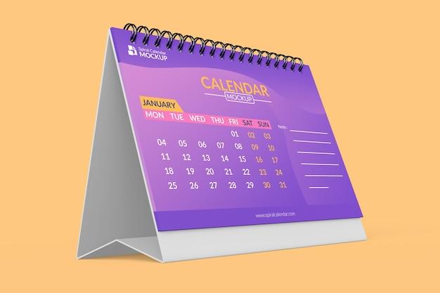 Primo piano su mock up di progettazione calendario realistico