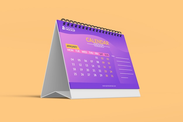 Primo piano sul mockup calendario da tavolo realistico
